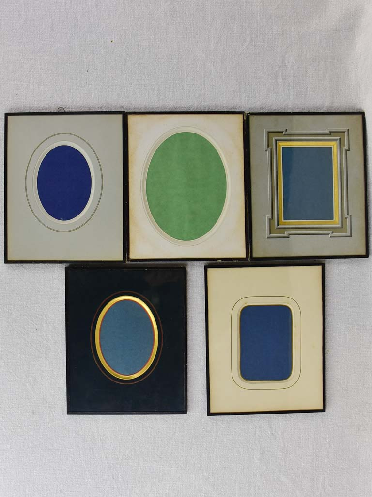 "Collection of five antique French photo frames 8¾"" x 10¾"""