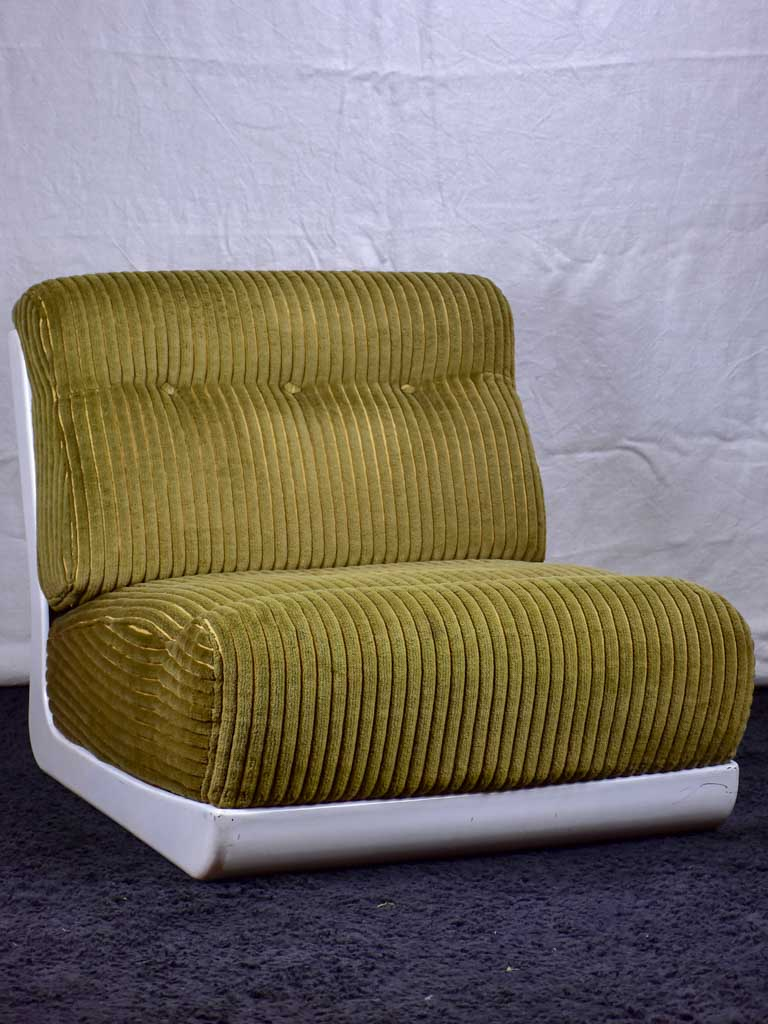 Low large 1970's chair - with fibreglass frame