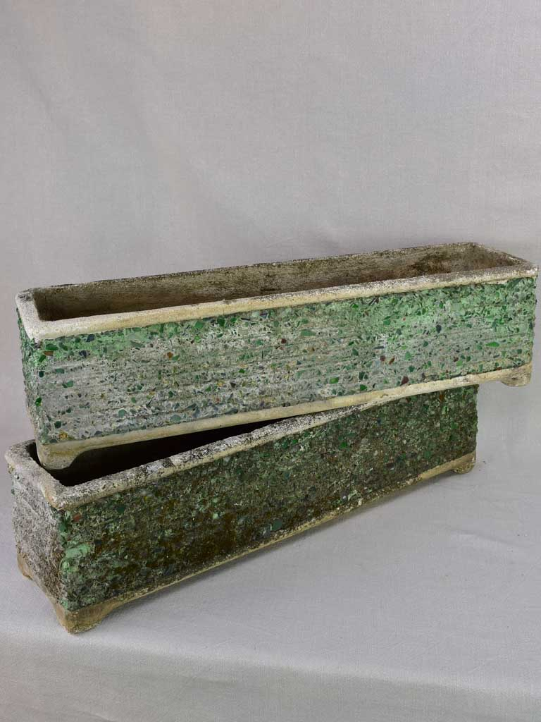 Pair of mid century cement and green glass rectangular planters 32""