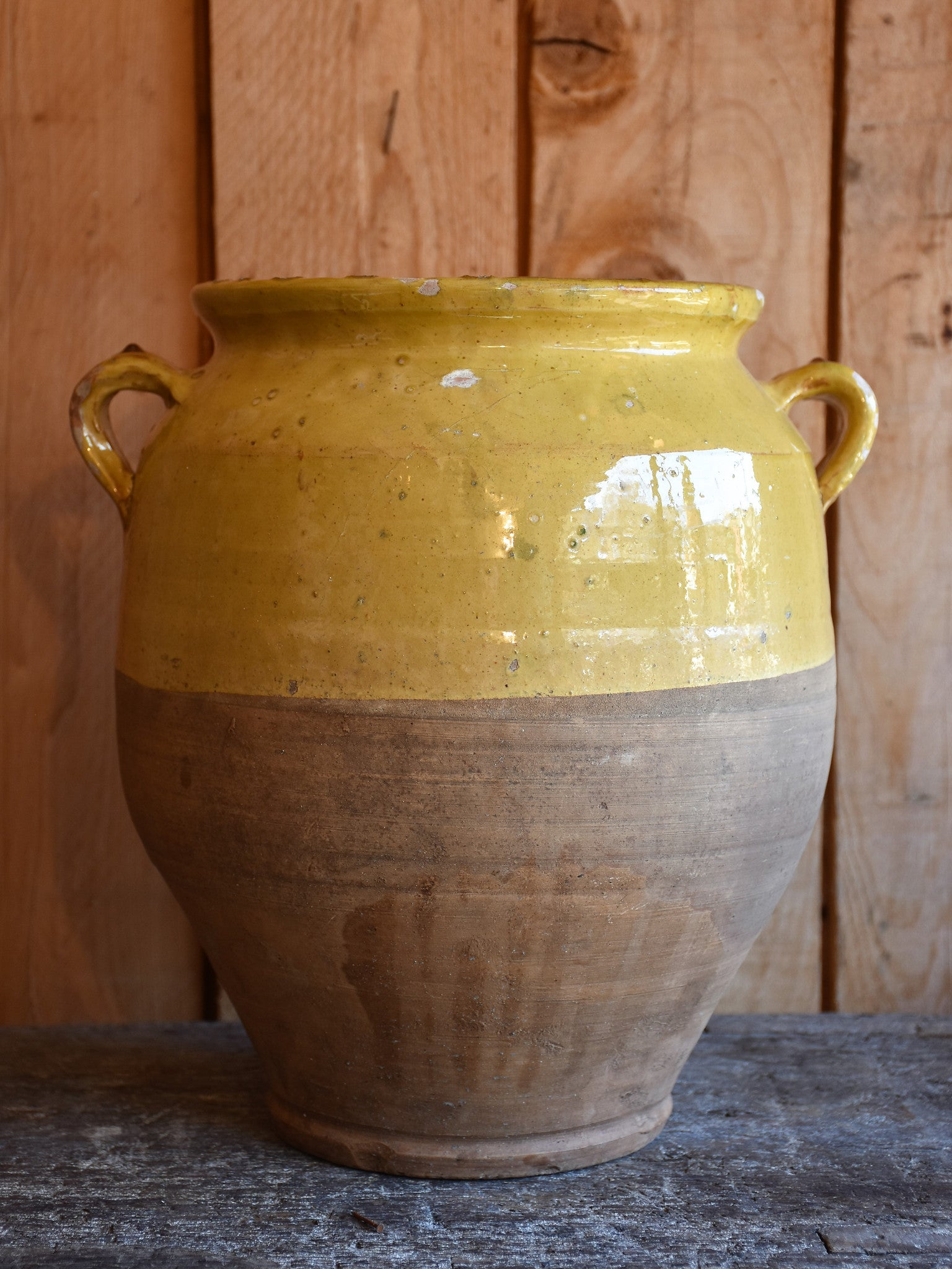 "19th century French confit pot with ochre glaze - 13""?"