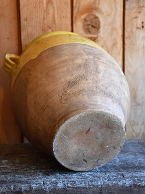 19th century French confit pot with ochre glaze – 13""