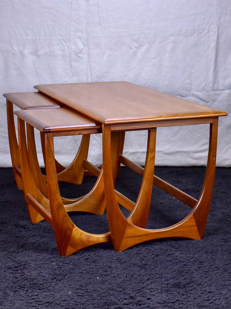 Mid century Scandinavian side table with two nested tables - solid teak