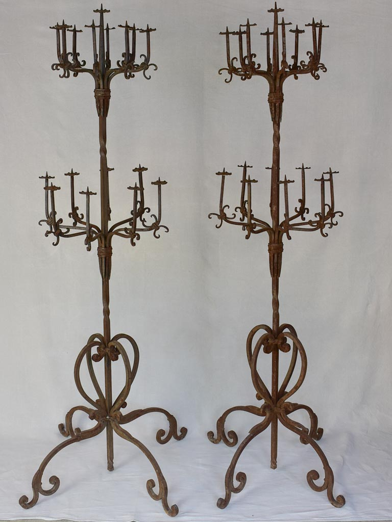 Pair of very large wrought iron floor candelabras - 19th century 73¼""