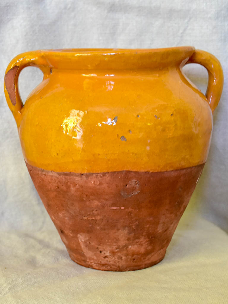 Early 20th Century French confit pot with apricot glaze 8¼""