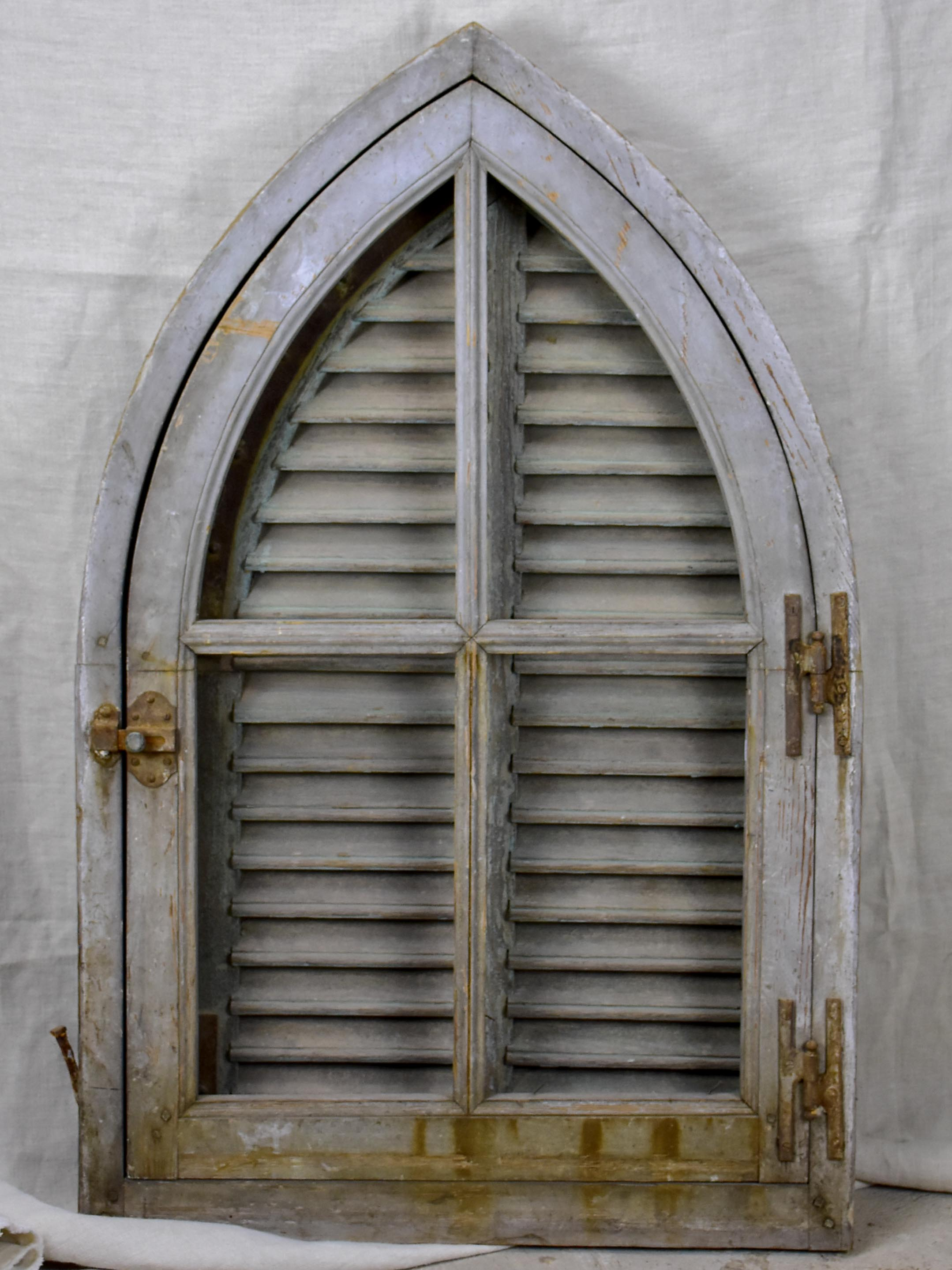 Antique French Window With Shutters Peaked Arch