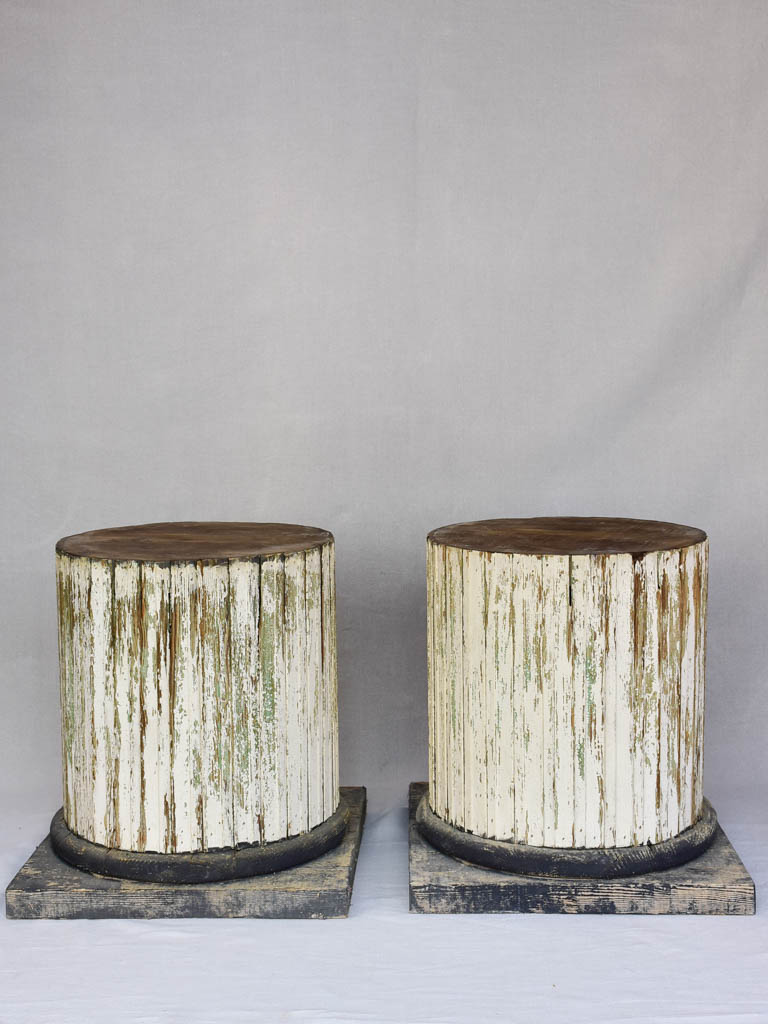 Pair of column-shaped wooden display pedestals 20½""