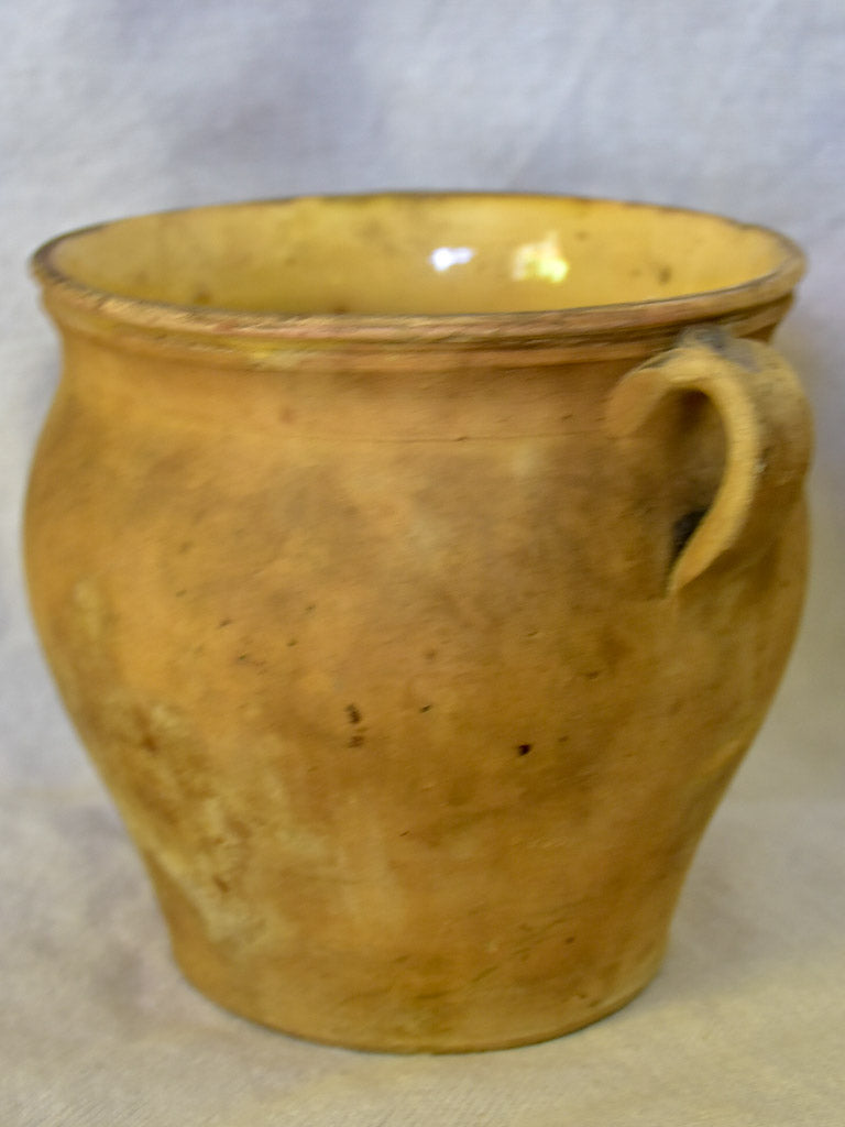 Small antique French confit pot - un-glazed outside 6""
