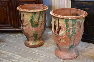 Pair of large flame glazed Anduze urns branded BOISSET