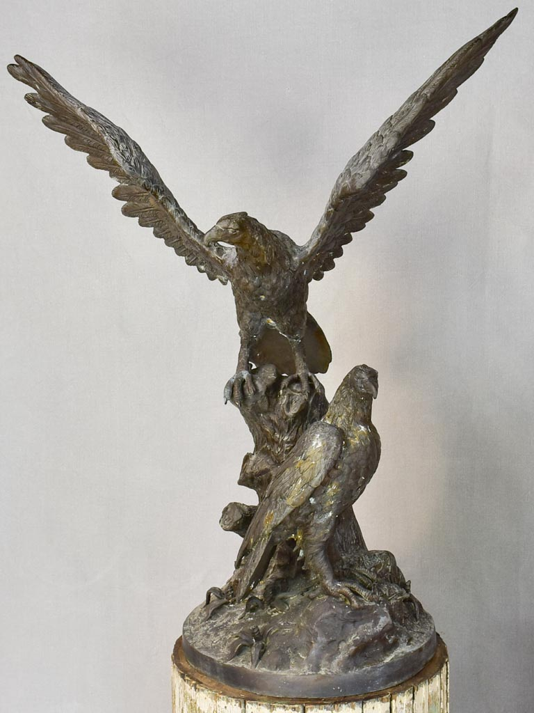 Large early twentieth century French sculpture of eagles 37¾""