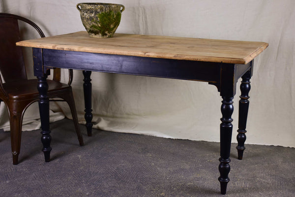 Pair of antique French bistro tables - natural timber with black legs