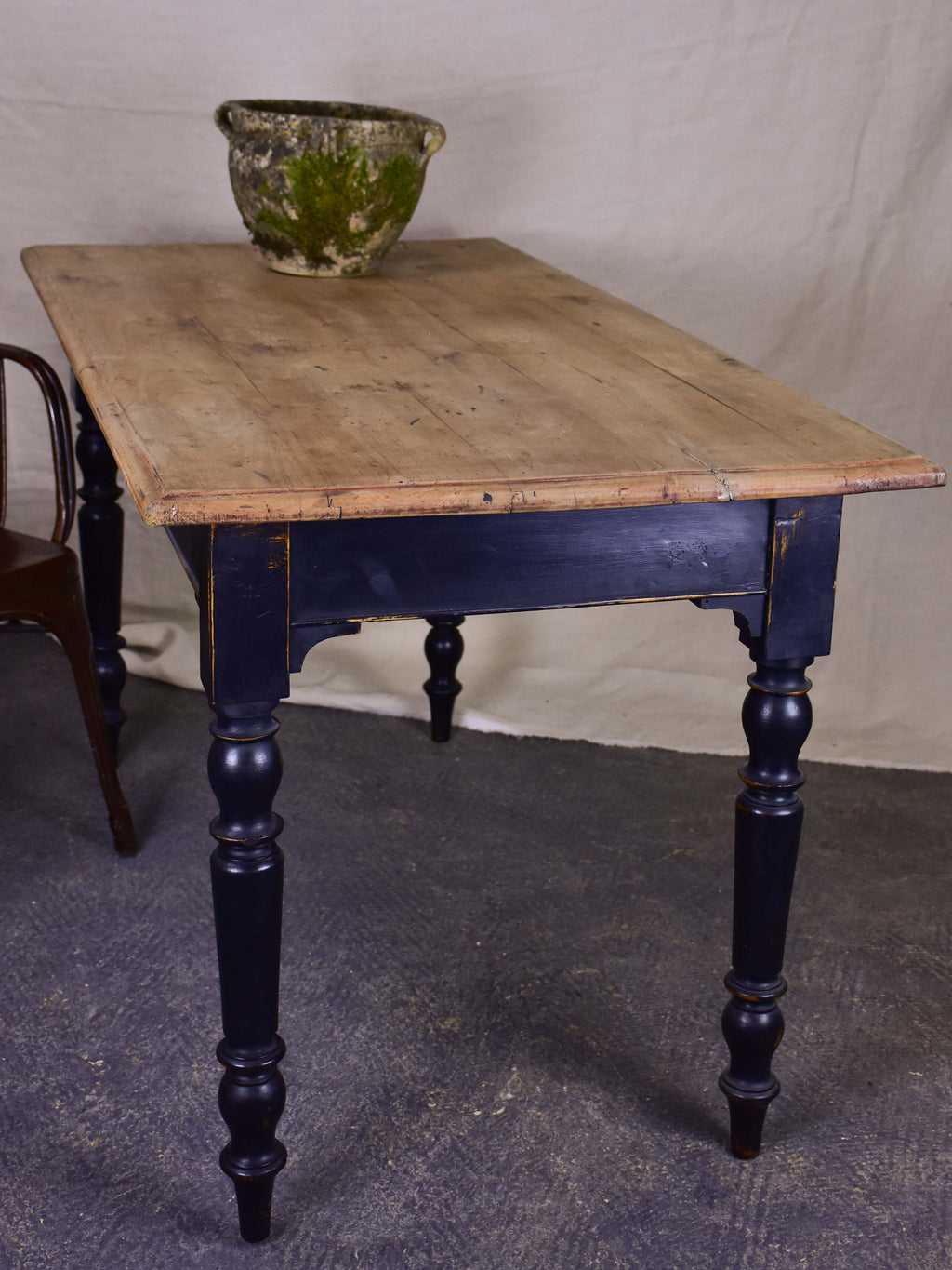 Antique French bistro table - natural timber with black legs