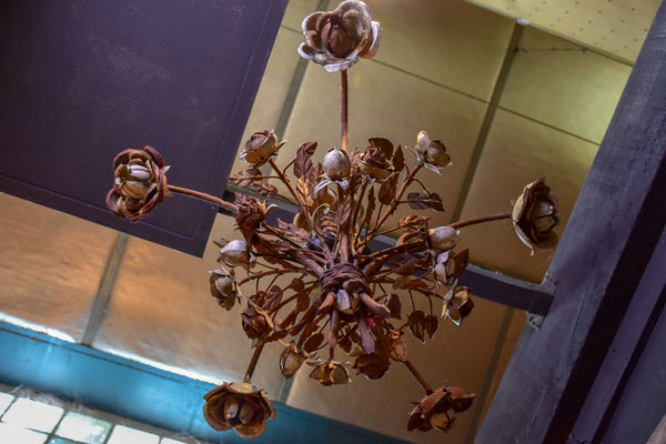 Antique French wrought iron and tole chandelier with flowers