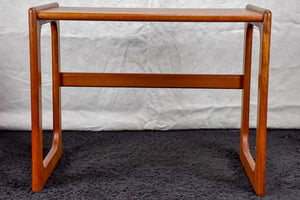Mid century Scandinavian side table with leather magazine holder - solid teak