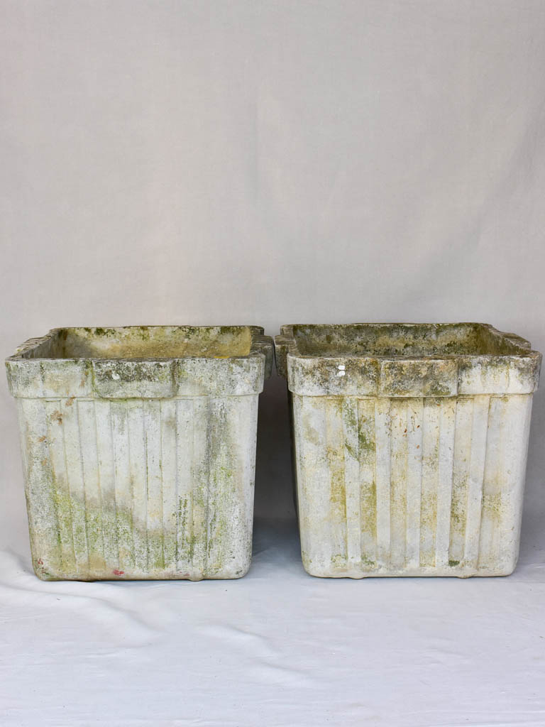 Pair of large square Willy Guhl garden planters 23¾""