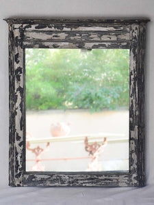 "Large gray boiserie mirror with distressed gray frame 38¼"" x 43¾"""