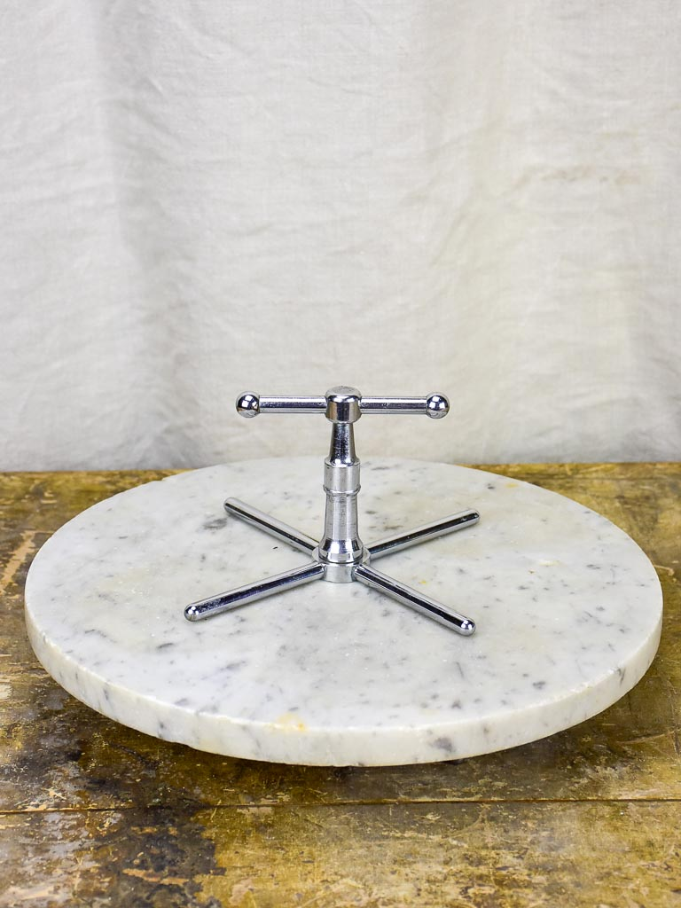Antique marble cheese presentation stand