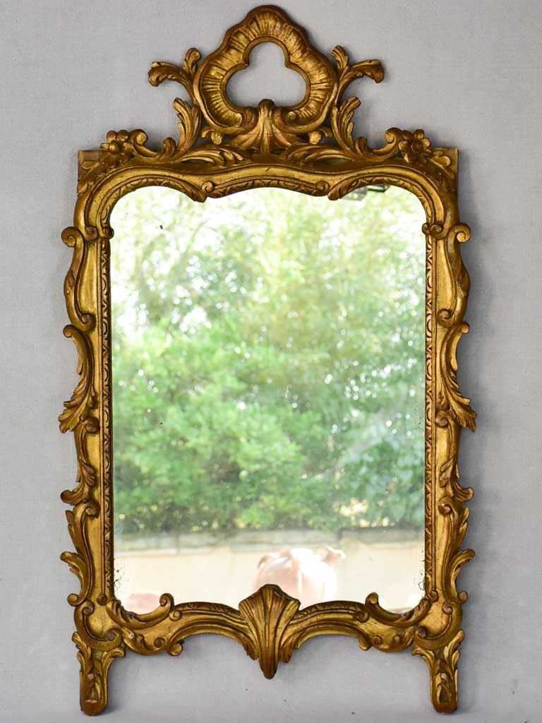 "Late nineteenth century Louis XV style gilt mirror with pediment 23¼"" x 37¾"""