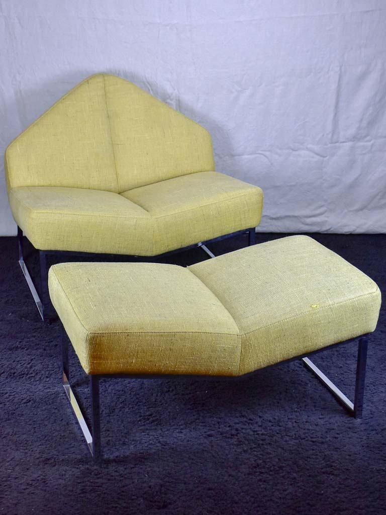 1970's triangular chair with matching ottoman