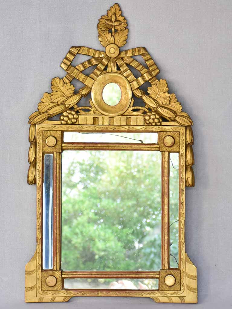 Eighteenth-century Louis XVI parclose mirror with pediment, grapes and wheat 18 x 29½""""
