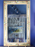 "Large two-pane mirror with polychrome floral frame 41"" x 69"""