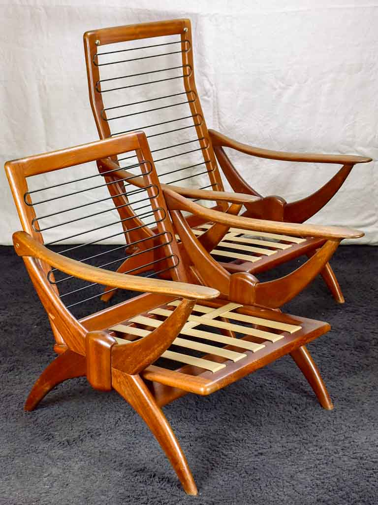 Two 1960's Scandinavian teak armchairs with ski shaped armrests