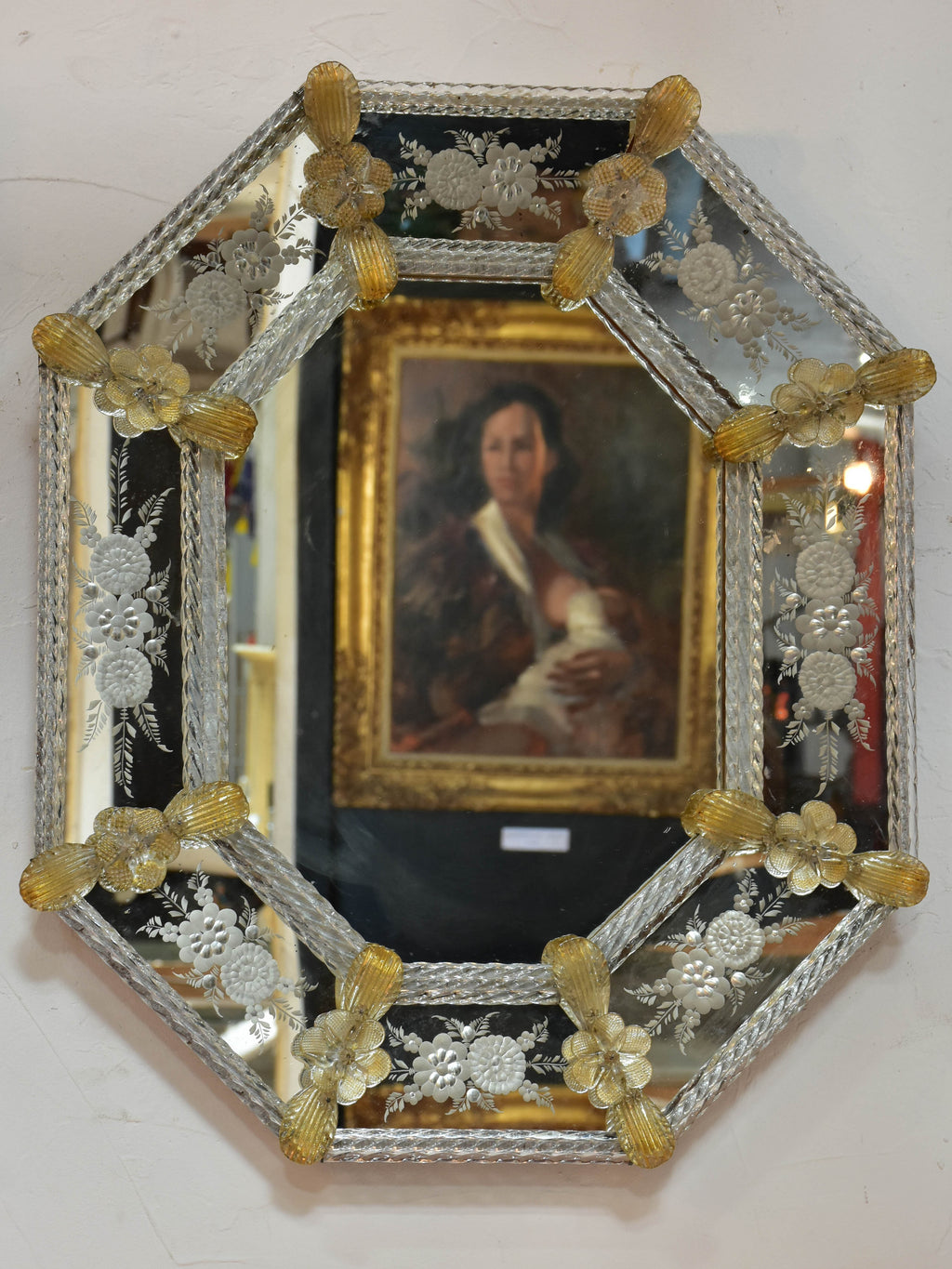 19th century octagonal Venetian glass mirror