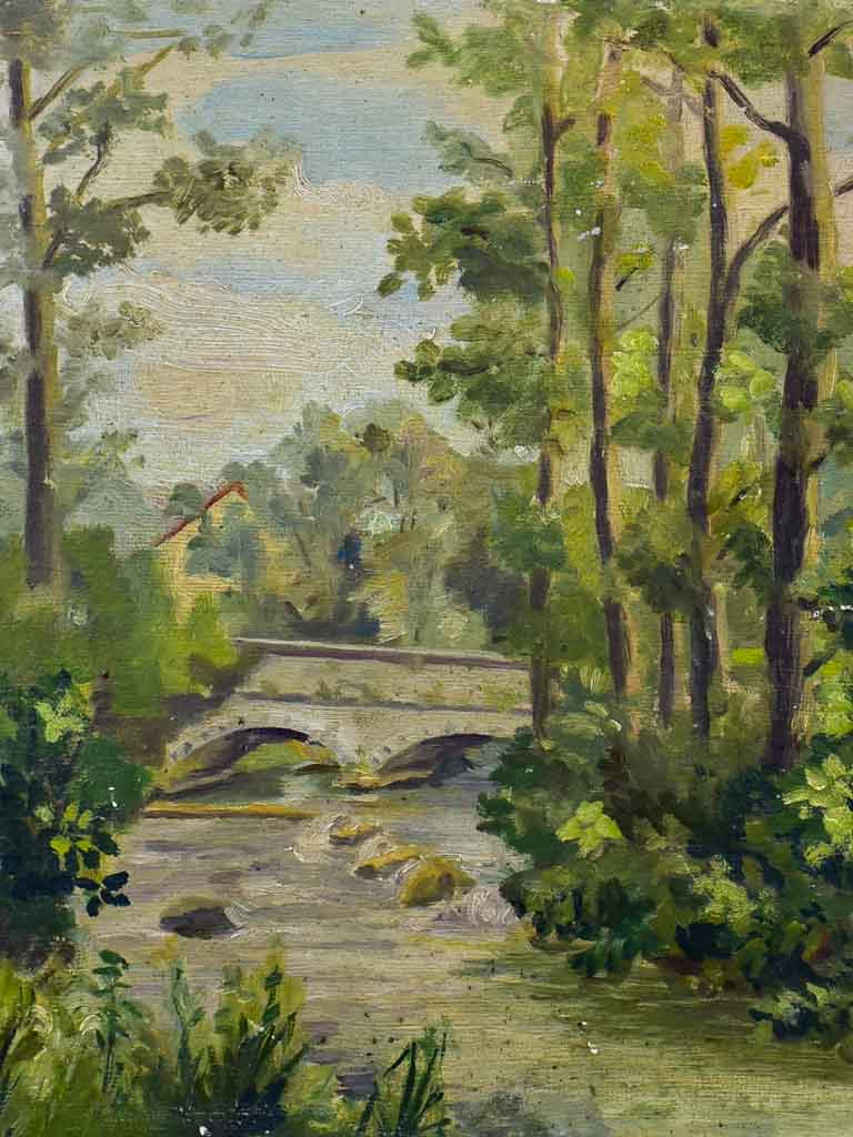 "Antique French painting - bridge, river and trees 16½"" x 13¾"""