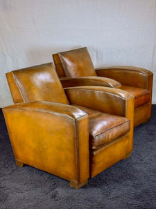 Pair of Art Deco square back French leather club chairs
