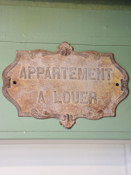 Antique French cast iron sign - Apartment for rent