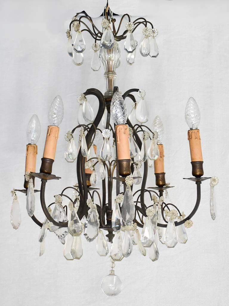 Small 6 light antique chandelier 24½""