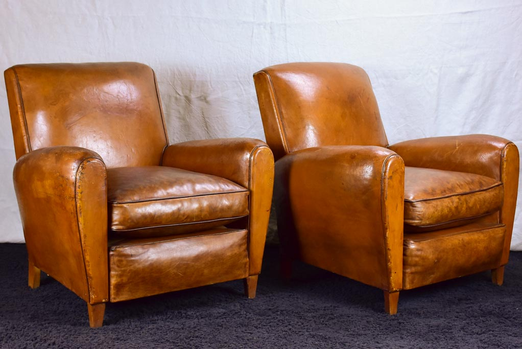 Pair of petite French leather club chairs - 1960's