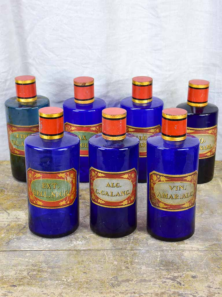 Rare collection of antique French apothecary jars - cobalt blue