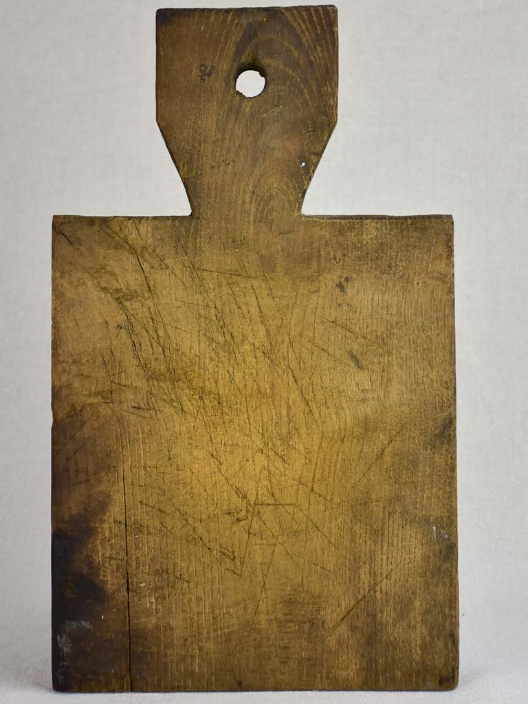 "Petite antique French cutting board with broad handle 14½"" x 8¾"""