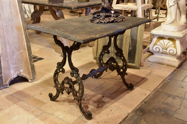 Antique French garden table with slate top and decorative cast iron base