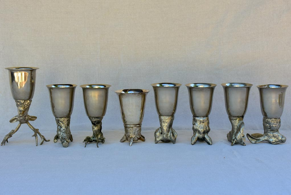 Set of six Mauro Manetti hunting trophy themed wine glasses