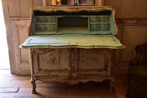 19th century Louis XV secretaire buffet with aqua interior