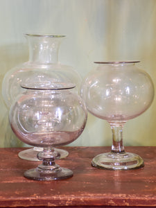 French apothecary glass sangsue jars
