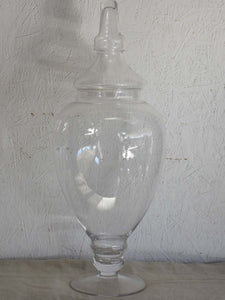 Very large French antique apothecary glass jar with lid