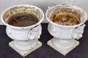 Large pair of antique French cast iron garden urns from Marseille