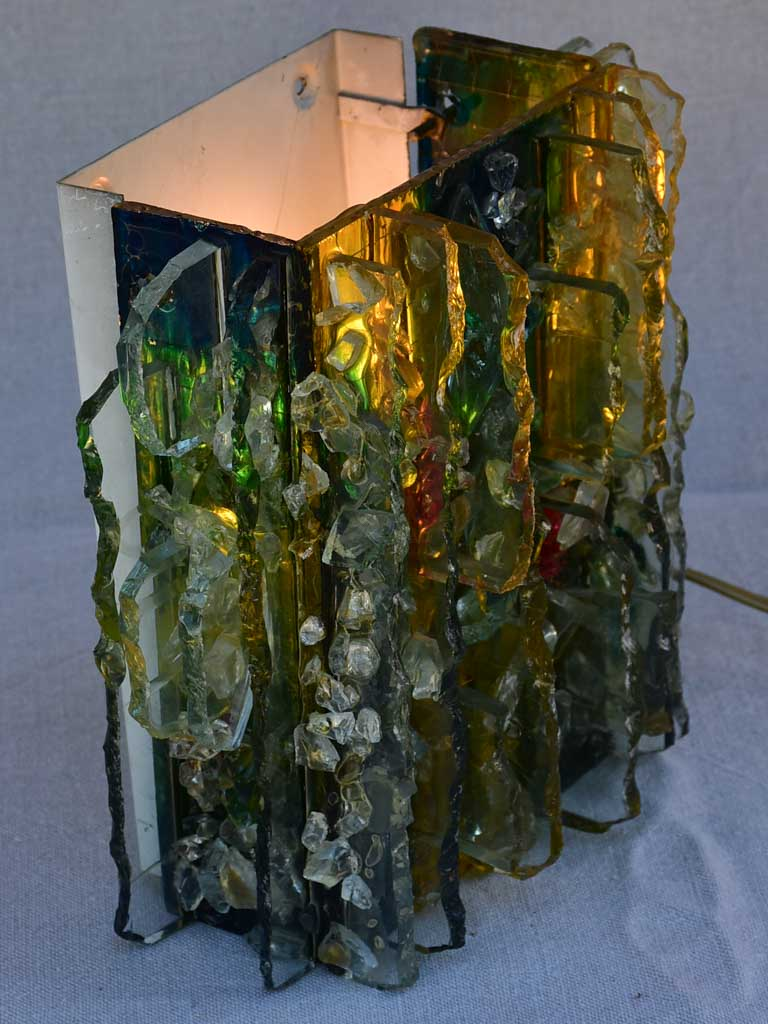 "1960's multi-colored brutalist glass wall sconce ""Chartres"" by Willem Van Oyen for Raak 9"""