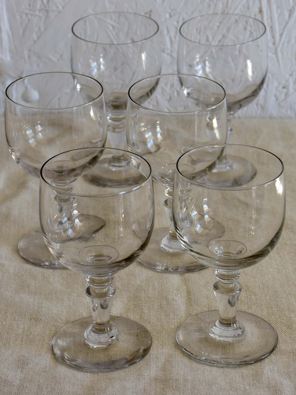 Six antique French wine glasses
