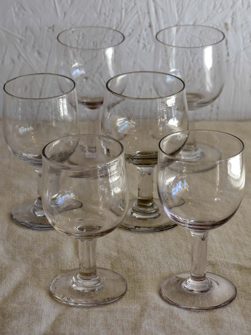 Collection of six antique French wine glasses