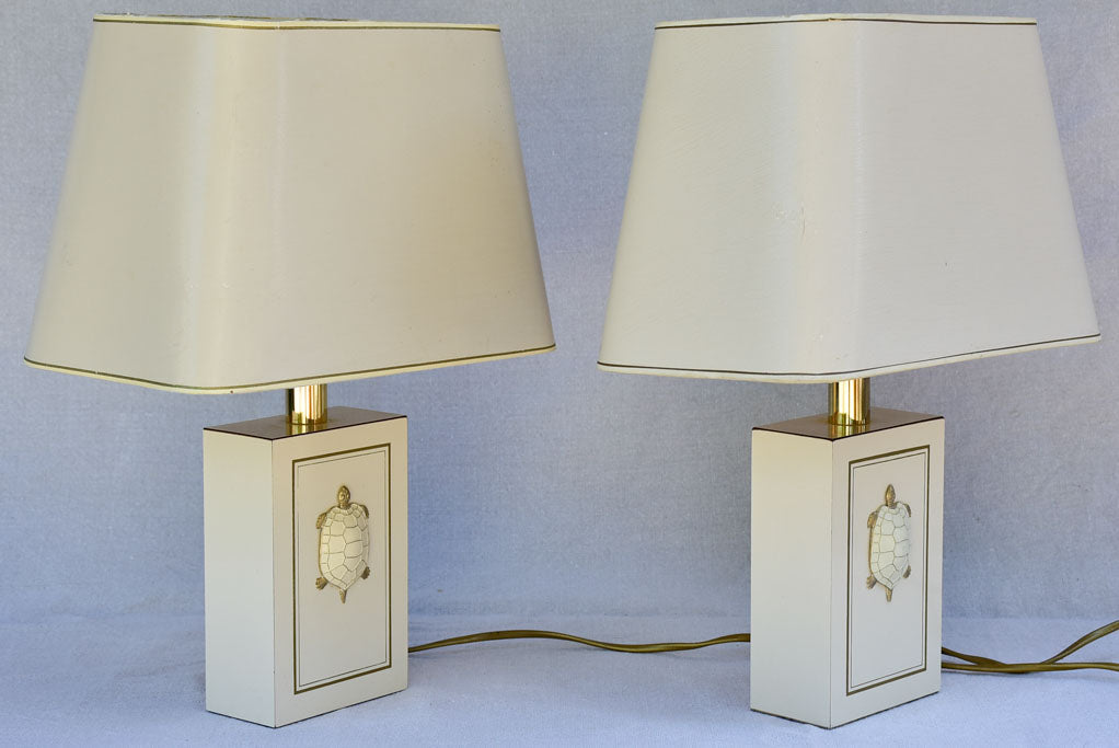 Pair of beige Le Dauphin lamps with turtle decorations