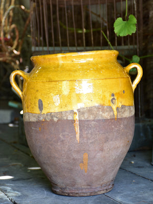 Large 19th century confit pot with ochre glaze