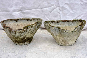 Pair of weathered 1960's garden planters with curved edges
