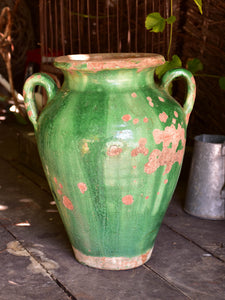 Large green glazed pot from Languedoc-Roussillon