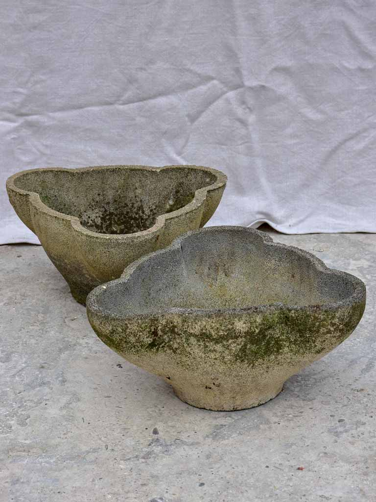 Pair of 1960's garden planters with curved edges