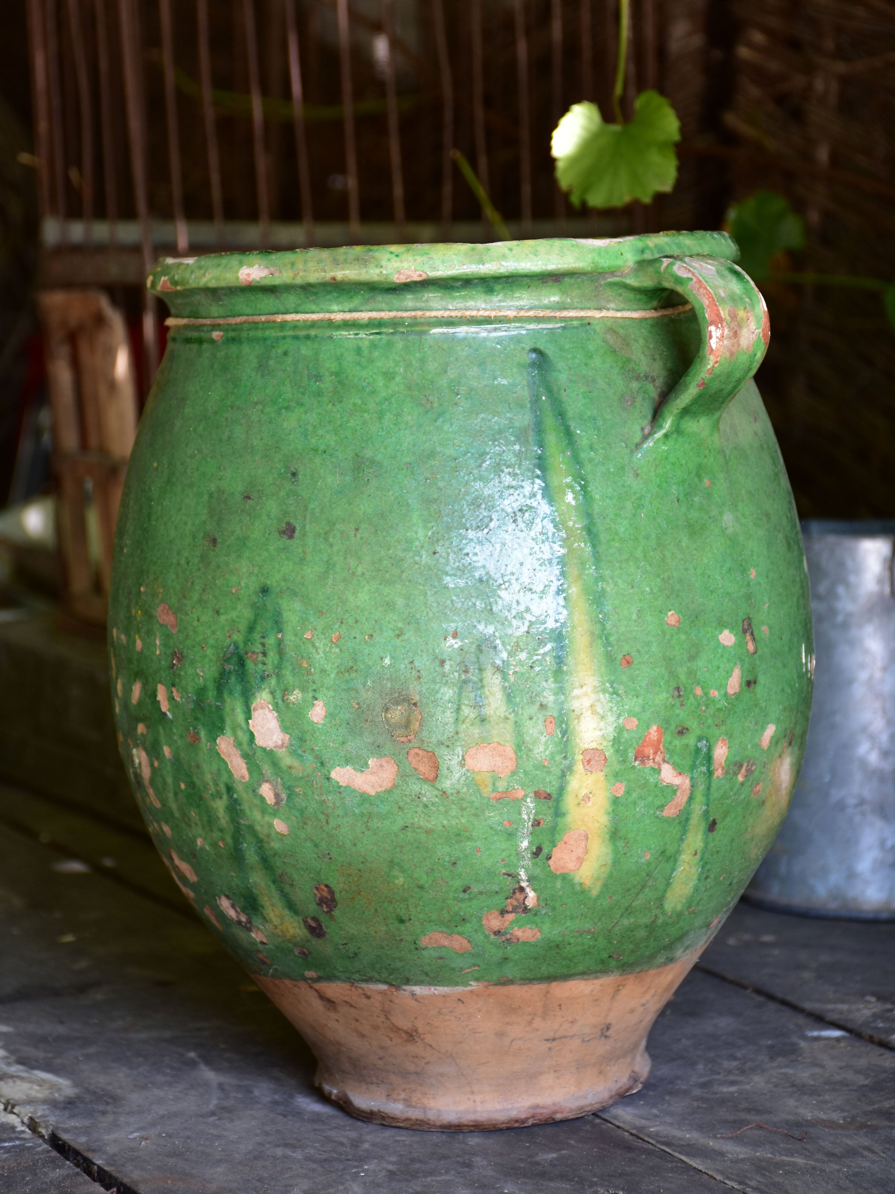Very large green glazed French preserving pot