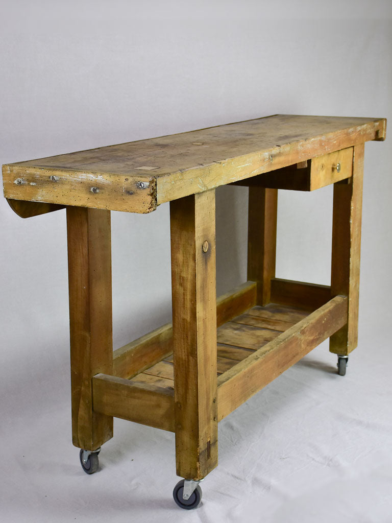 Antique French carpenter's workbench on castors 59""
