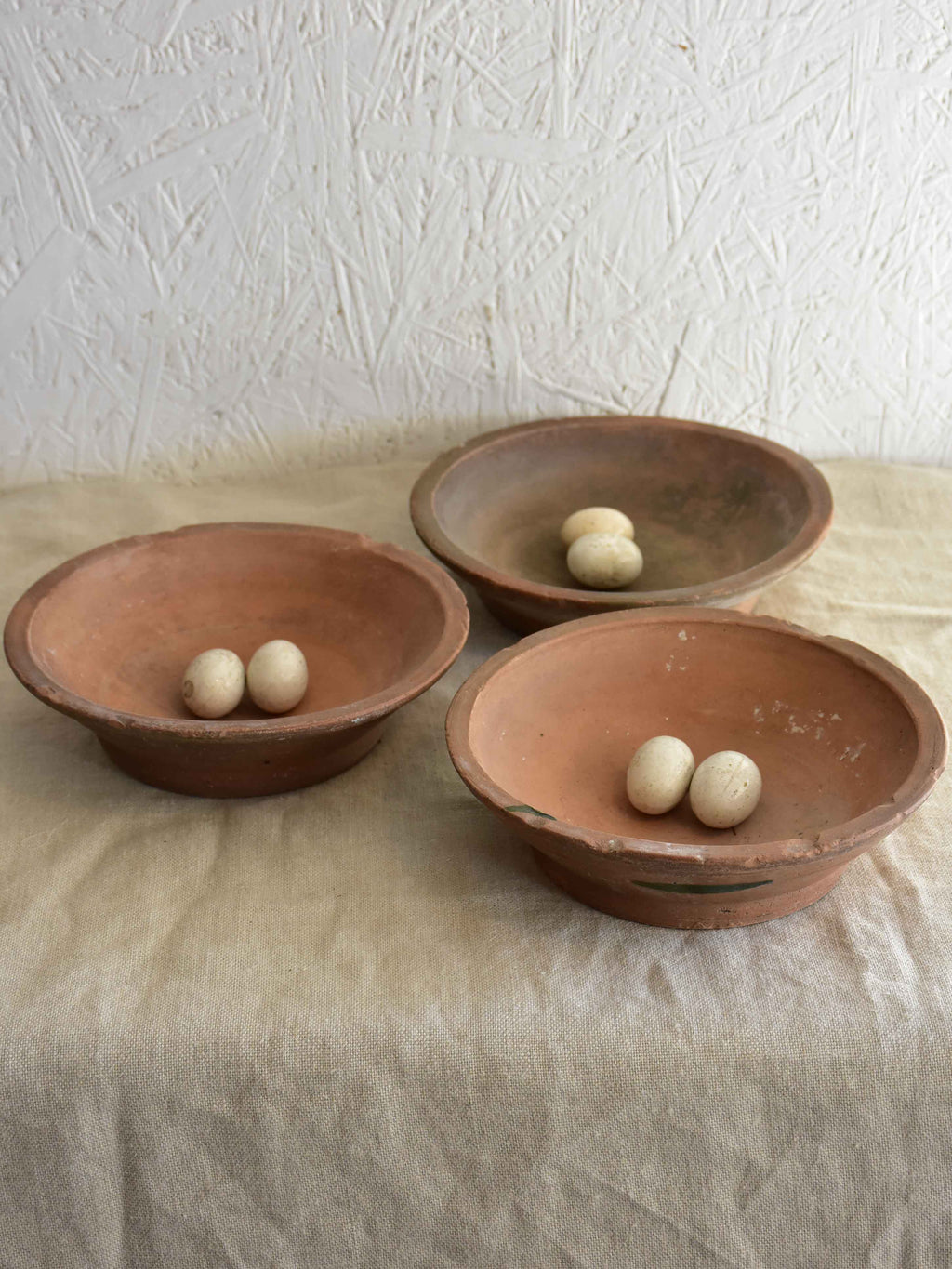 Antique French terracotta pigeon's nests